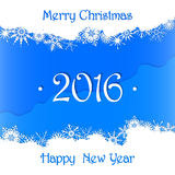 Merry Christmas and Happy New Year 2016 card background. Blue Merry Christmas and Happy New Year 2016 card background royalty free illustration