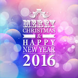 2016 Merry Christmas and Happy New Year card or background with. Blur background royalty free illustration