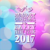 2017 Merry Christmas and Happy New Year card or background with. Blur background Stock Image