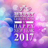 2017 Merry Christmas and Happy New Year card or background with. Blur background Royalty Free Stock Photo