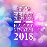 2018 Merry Christmas and Happy New Year card or background with Stock Photo