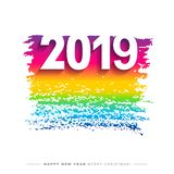 2019 Merry Christmas and Happy New Year card or background. stock illustration
