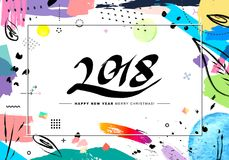 2018 Merry Christmas and Happy New Year card or background. Creative universal floral artistic cover in trendy style with Hand Drawn textures. Collage. Hipster royalty free illustration