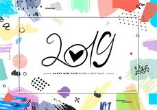 2019 Merry Christmas and Happy New Year card or background. Creative universal floral artistic cover in trendy style with Hand Drawn textures. Collage. Hipster vector illustration
