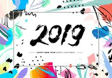 2019 Merry Christmas and Happy New Year card or background. Creative universal floral artistic cover in trendy style with Hand Drawn textures. Collage. Hipster royalty free illustration