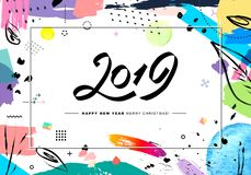 2019 Merry Christmas and Happy New Year card or background. Creative universal floral artistic cover in trendy style with Hand Drawn textures. Collage. Hipster stock illustration