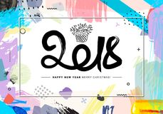 2018 Merry Christmas and Happy New Year card or background. Creative universal floral artistic cover in trendy style with Hand Drawn textures. Collage. Hipster stock illustration