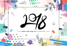 2018 Merry Christmas and Happy New Year card or background. Creative universal floral artistic cover in trendy style with Hand Drawn textures. Collage. Hipster vector illustration