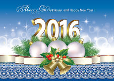 Merry Christmas and Happy New Year 2016 Stock Photo