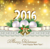 Merry Christmas and Happy New Year 2016 Royalty Free Stock Photos