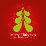 Merry Christmas and Happy New Year Card with beautiful floral Christmas tree Royalty Free Stock Photos