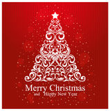 Merry Christmas and Happy New Year Card with beautiful floral Christmas tree Stock Image