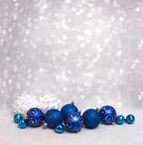 Merry Christmas and Happy New Year card with blue balls. And a free place for your text stock photography