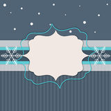 Merry Christmas And Happy New Year Card. With Blue Stripes And White Snowflakes Stock Photography