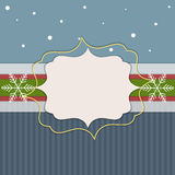 Merry Christmas And Happy New Year Card. With Blue Stripes And White Snowflakes stock illustration