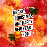 Merry Christmas and Happy New Year 2015 card. Bright hexagon background with white ribbon and Christmas decoration. Vector image Stock Photo