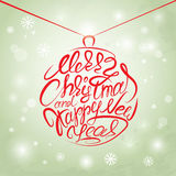 Merry Christmas and Happy New Year Card, calligraphy handwritten Stock Photo