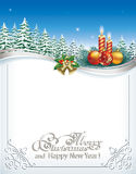 Merry christmas and a happy new year. Christmas card with candles on the background of fir trees Royalty Free Stock Image