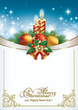 Merry Christmas and Happy New Year. Christmas card with candles and Christmas decorations vector illustration