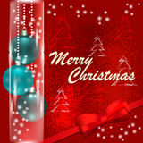 Merry Christmas and Happy New Year card with christmas balls royalty free stock image
