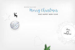 Merry Christmas and Happy New Year card with christmas elements Royalty Free Stock Images