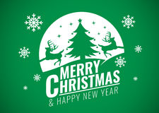Merry Christmas and happy new year card - Christmas tree and snow and deer on green background vector design Stock Image