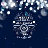 Merry Christmas and Happy New Year card. Christmas typographic message. Vector blue bokeh background, festive defocused. Lights, snowflakes, text royalty free illustration
