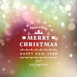 Merry Christmas and Happy New Year card. Christmas typographic message. Vector bokeh background, festive defocused lights. Snowflakes, text royalty free illustration