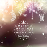 Merry Christmas and Happy New Year card. Christmas typographic message. Vector bokeh background, festive defocused. Lights, snowflakes, bauble, hanging royalty free illustration