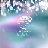 Merry Christmas and Happy New Year card. Christmas typographic message. Vector bokeh background, festive defocused. Lights, snowflakes, santa hat, text Stock Images