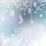 Merry Christmas and Happy New Year card. Christmas typographic message. Vector bokeh background, festive defocused. Lights, snowflakes, bauble, hanging vector illustration