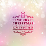 Merry Christmas and Happy New Year card. Christmas typographic message. Vector bokeh background, festive defocused. Lights, snowflakes, text Royalty Free Stock Images