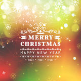 Merry Christmas and Happy New Year card. Christmas typographic message. Vector bright bokeh background, festive. Defocused lights, snowflakes, text vector illustration