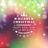 Merry Christmas and Happy New Year card. Christmas typographic message. Vector bright bokeh background, festive. Defocused lights, snowflakes, text Stock Image