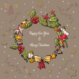 Merry Christmas and Happy New Year Card. Christmas Wreath with tree, bow, gift, candle, stars, snow. Vector Hand drawing vector illustration