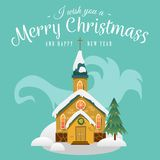 Merry christmas and happy new year card, church and green tree under snow, christianity and Catholic winter city Royalty Free Stock Image
