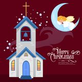 Merry christmas and happy new year card, church and green tree under snow, christianity and Catholic winter city. Cathedral vector illustration, religious holy Royalty Free Stock Photography