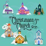 Merry christmas and happy new year card, church and green tree under snow, christianity and Catholic winter city. Cathedral vector illustration, religious holy Stock Photography