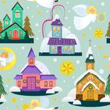 Merry christmas and happy new year seamless pattern, church and green tree under snow, christianity and Catholic winter. Merry christmas and happy new year card Royalty Free Stock Photo