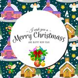 Merry christmas and happy new year seamless pattern, church and green tree under snow, christianity and Catholic winter. Merry christmas and happy new year card Stock Images