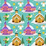 Merry christmas and happy new year seamless pattern, church and green tree under snow, christianity and Catholic winter. Merry christmas and happy new year card Royalty Free Stock Images