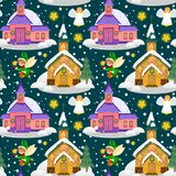 Merry christmas and happy new year seamless pattern, church and green tree under snow, christianity and Catholic winter. Merry christmas and happy new year card Royalty Free Stock Photos
