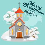 Merry christmas and happy new year card, church and green tree under snow, christianity and Catholic winter city Royalty Free Stock Photos