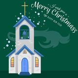 Merry christmas and happy new year card, church and green tree under snow, christianity and Catholic winter city. Cathedral vector illustration, religious holy Stock Photo