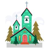Merry christmas and happy new year card, church and green tree under snow, christianity and Catholic winter city. Cathedral vector illustration, religious holy Royalty Free Stock Photo
