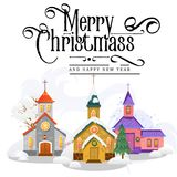 Merry christmas and happy new year card, church and green tree under snow, christianity and Catholic winter city. Cathedral vector illustration, religious holy Stock Images