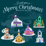 Merry christmas and happy new year card, church and green tree under snow, christianity and Catholic winter city. Cathedral vector illustration, religious holy Stock Photos