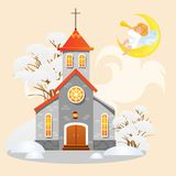 Merry christmas and happy new year card, church under snow, christianity and Catholic winter cathedral vector. Illustration, religious holy background, angel Stock Photos