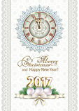 Merry Christmas and Happy New Year 2017. Christmas card with a clock on the background of snowflakes Royalty Free Stock Images