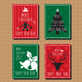 Merry christmas and happy new year card collection set. Royalty Free Stock Images
